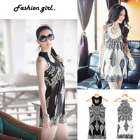 Wholesale Summer Sexy Women s Boho Floral Mini Dress Totem Sleeveless Causal Bohemian Tunic Sundress G0161
