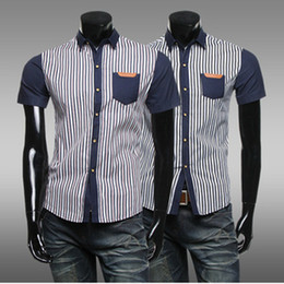 Wholesale New Summer Men s Striped Shirts Short Sleeve Turn down Collar Casual Shirt With Pockets