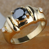 With Side Stones Men's Party Man Black Onyx Stone Bamboo Ring R115 GFLM Size 10 11 12 J8191 Anniversary Gift