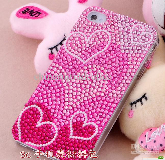 2017 3d luxurious pink hearts rhinestone cellphone mobile On 3d decoration for phone cases