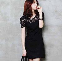 Wholesale fashion street dress women ladies big size slimming black lace skirt Summer short sleeve dress t5050