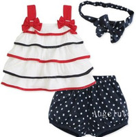 Baby Girls 3pcs Outfits Bow Striped Gallus Shirt+ Dots Pants ...