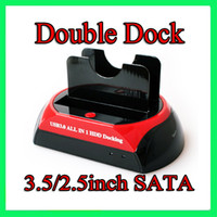 Wholesale SATA IDE Dual HDD Dock Double Twin Docking Station HUB SD CF XD MS card reader Sample