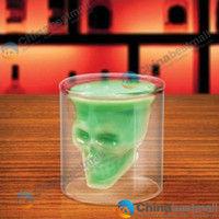 Wholesale 2 Oz ml Doomed Crystal Skull Shot Glass Crystal Skull Head Vodka Shot Cup Drinking Ware Home Bar