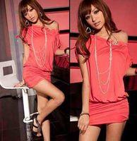 Wholesale Europe ladies sexy slash neck leakage shoulder batwing sleeve dress mini club evening skirt t5056