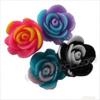 craft embellishments - 14mm Assorted Two tone Flower Resin Beads Stick on Flatback Embellishments Crafts