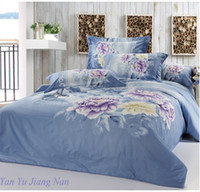 Wholesale King size Peony Floral Bedding set Grey Blue color Doona Cover bed in a bag Set