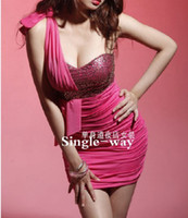 Wholesale Sexy club wear One Shoulder party Evening dress Dance Dresses one Size