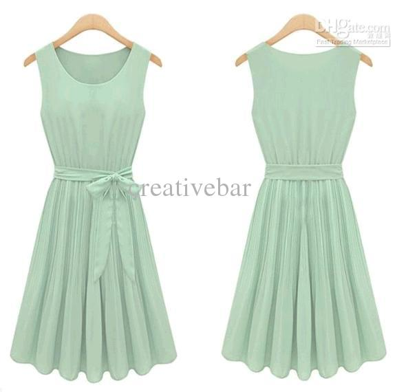 Active Women Vintage Novelty Mint Green Chiffon Fashion Casual ...