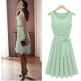 Vintage Womens Korea Fashion Pleated Mint Green Sleeveless Belted Chiffon Dress Lots 20