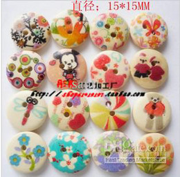 Wholesale Mixed Flower Hole Wooden Sewing Buttons Scrapbooking mm