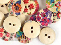 Wholesale 15mm Wooden Sewing Buttons Scrapbooking Mixed Flower Hole button