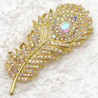 Men's aurora prom - AURORA BOREALIS CRYSTAL RHINESTONE GOLD PLATED PEACOCK FEATHER WEDDING PARTY PROM PIN BROOCH C384 F
