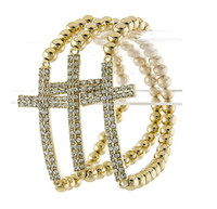 Wholesale Top fashion crystal cross infinite LOVE stretch charm bracelet beads string rosary bracelet