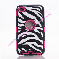 Wholesale 3 in1 Deluxe Zebra Print Hard Soft High Impact Armor Case Combo for ipod touch3 touch4
