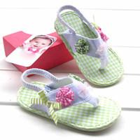 Wholesale apple green fashion Summer shoes baby girls flip flops sandals infant cotton flowers prewalker t5060