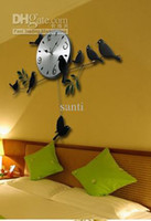 Wholesale Creative clock Mordern Fashion Wall watch Mute Quartz Little Bird Wall Clock Home Decorative Craft