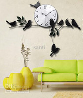 Wholesale Fashion Wall watch Home Decorative Craft Mute Quartz Little Bird Wall Clock