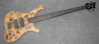 Wholesale NEW BRAND FLAME MAPLE BODY ELECTRIC BASS IN YELLOW