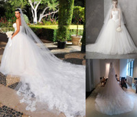 Garden Autumn/Spring Sexy Wedding dress Ball Gown Tulle Cathedral train similar to Kim Kardashian Event dresses Bestoffers