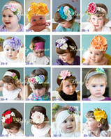 Headbands ribbons - NEW baby hair ornaments Girls headbands children s colourful farbric fower ribbon mix colours