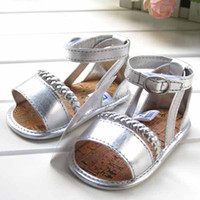 Wholesale Baby girls pu sandals cotton bottom deodorize shoes infant old silvery prewalker child shoes t5068
