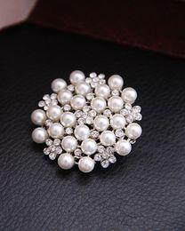 2013 Fashion 12Pc Brooches Multi-beads Pins Bridesmaid Flower Girl Wedding Pearl Rhinestone Tara New