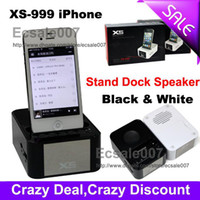 Wholesale Lowest Mini FM Loud Speaker for iPhone S Stand Dock Speakers Sound Box Micro SD XS