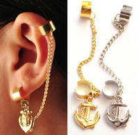Wholesale NEW Gothic Punk Rock Chain Anchor Ear Cuff Wrap Earring Non Piercing Gold Silve
