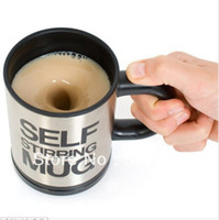 Wholesale Automatic coffee mixing cup mug bluw stainless steel self stirring electic coffee mug ml FreeShipping