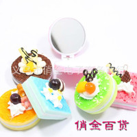 Wholesale Simulation food squishy cake makeup mirror hamburger pocket makeup cosmetic mirror mirror ba