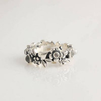 Wholesale Engagement Rings Sterling Silver Flower Moon Stone Charm Ring European Style Fashion Jewelry