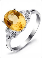 Women's Topaz Three Stone Rings cGemstone Jewelry Natural Citrine 925 Sterling Silver Ring Women