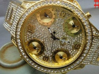 Wholesale 100 Original New GOLD full iced bling bling watch diamond
