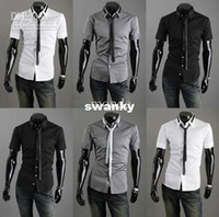Wholesale 2013 new arrive men s Shirts Slim Korean mens short sleeve shirts with tie