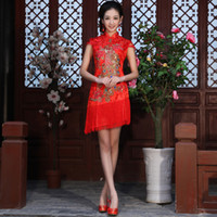 Wholesale 2012 red bride evening dress fashion of improved cheongsam dress design short cheongsam