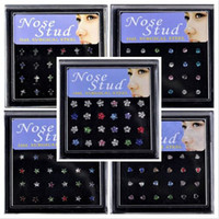 Stainless Steel assorted nose rings - 5style X Assorted Colors Crystal Rhinestone Body Piercing Jewelry Nose Studs Fashion Body Jewelry NS1 NS3 NS5 NS7 NS8