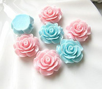 Wholesale 30 mm Cutie Resin Rose Flower Flat Back Cabochon Assorted Mix Color
