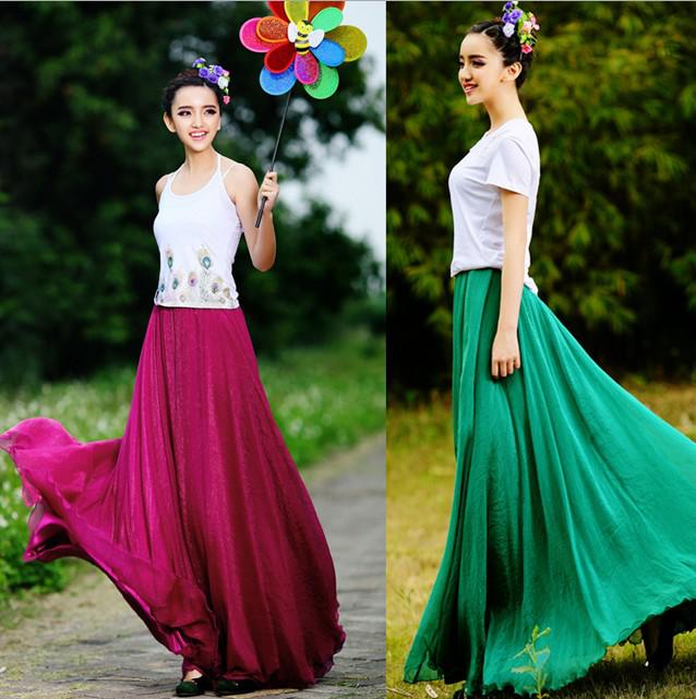 New Fashion Chiffon Long Skirt Casual Skirt Women Evening Party ...