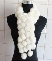 Wholesale Ms Winter essential volleyball warm rabbit fur scarf Women Long rabbit fur ball scarf