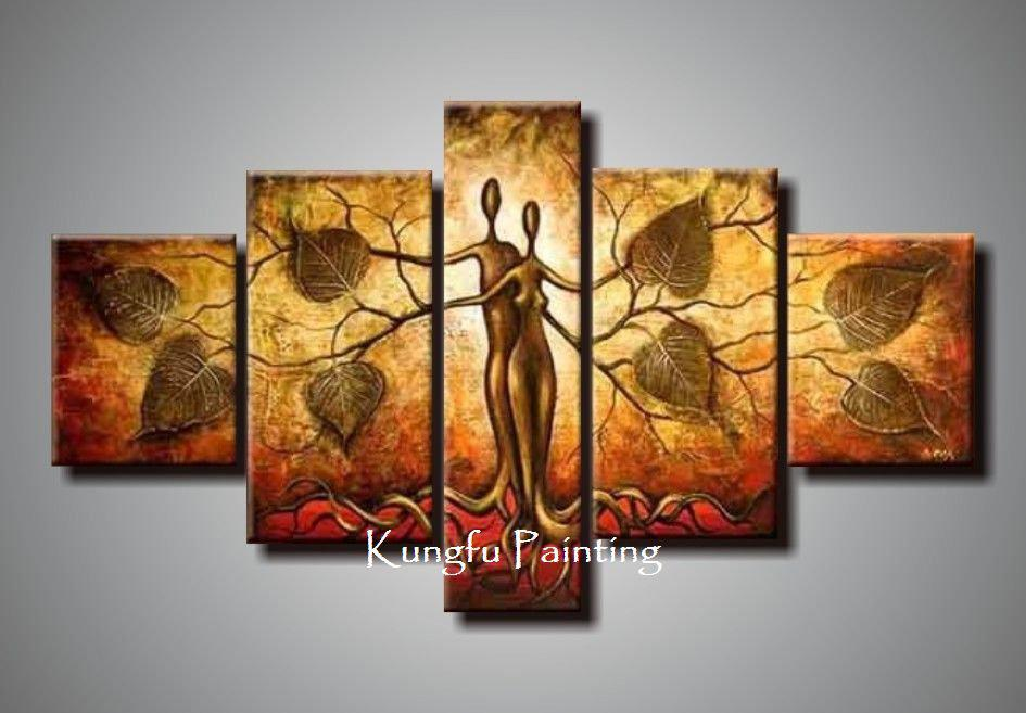 2017 100 Hand Painted Discount Abstract 5 Panel Canvas Art Living Room Pictu