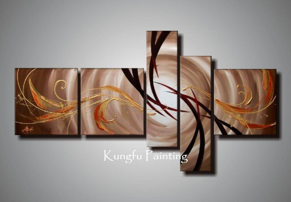 Best 100 Hand Painted Unframed Abstract 5 Panel Canvas