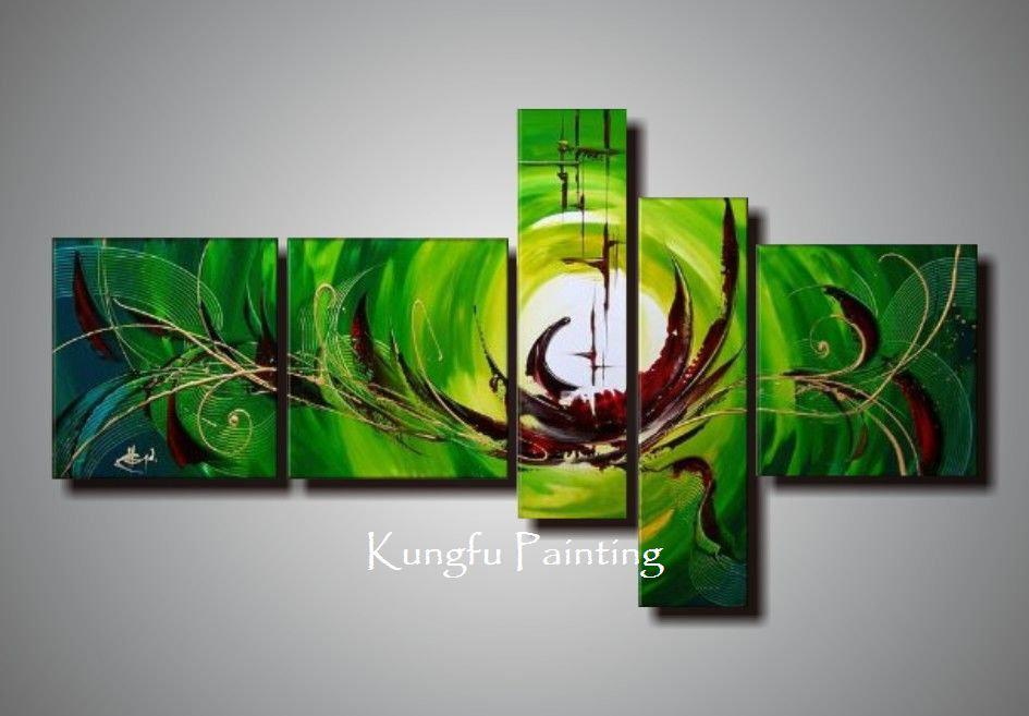100% Hand Painted Unframed Abstract 5 Panel Canvas Art Living Room Wall Decor  Painting Modern Sets Com5440 5 Panel Canvas Art 5 Panel 5 Canvas Art Online  ...