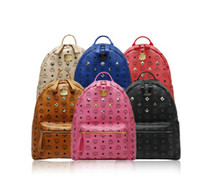 Wholesale New Spring Fashion Classic MCM Rain BACKLEGEND Visetos Backpack Bag Rivet Elements