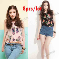 Wholesale 8pcs Fashion Women s Nice Elegant Flower Pattern Sleeveless Chiffon Blouse