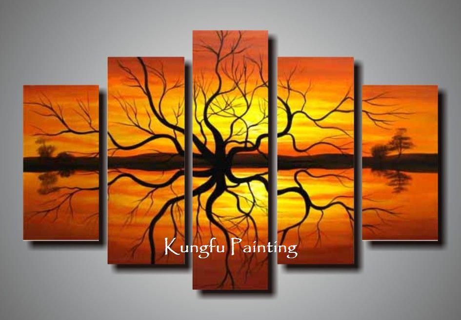 Hand Painted Wall Art 100% hand painted unframed tree oil goods wall art 5 panel canvas