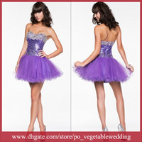 Wholesale Purple Sweetheart Sequin Crystals Beading Zipper Short Tulle Ball Gown Prom Party Graduation Dress