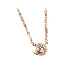 NXL006 Women party jewelry 14k rose gold 316 grade stainless steel crystal drill chain Necklace,18''
