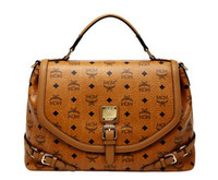 Wholesale 2013 New Fashion Lady Classical MCM Visetos Brown Shoulder Star Love Tote Handbag Bag For WOMEN