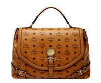 Wholesale 2013 New Fashion Lady Classical MCM Visetos Brown Shoulder Star Love Tote Handbag Bag For WOMEN